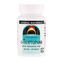 L-триптофан (L-Tryptophan), Source Naturals, 500 мг, 60 таблеток