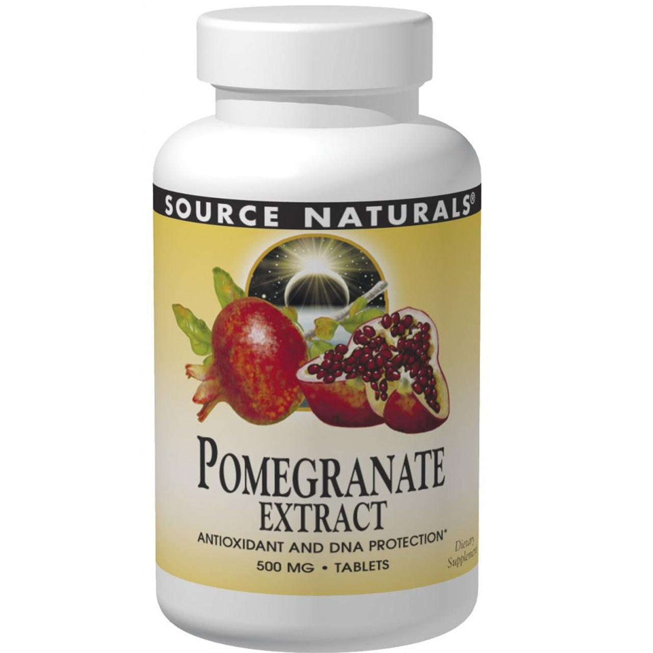 Экстракт граната, Pomegranate Extract, Source Naturals, 500 мг, 60 таб.