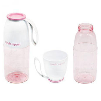 Спортивная бутылка для воды 2 в 1, 450 мл (розовая) 8557