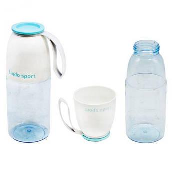 Спортивная бутылка для воды 2 в 1, 450 мл (бирюзовая) 8557