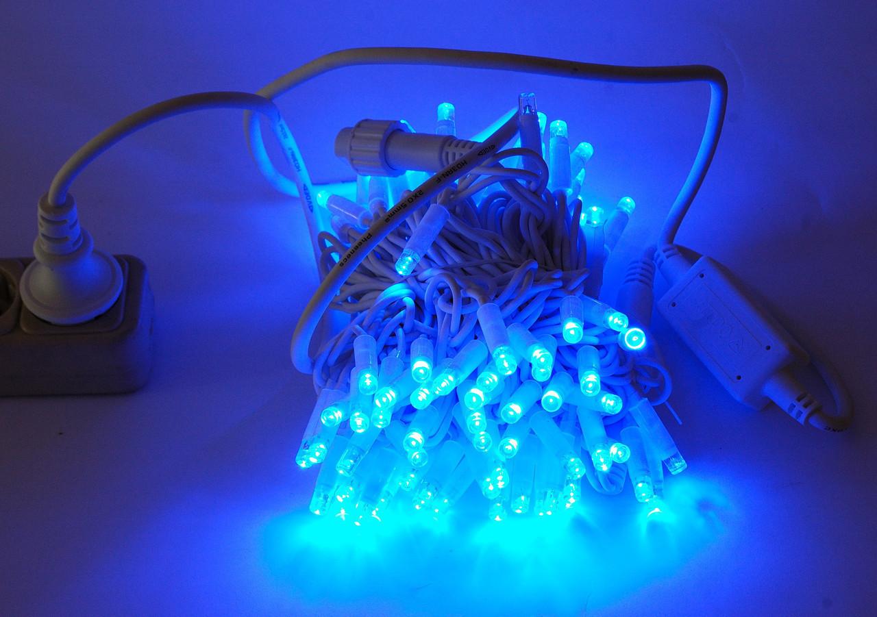 Уличная Гирлянда светодиодная нить, 10 м, 100 led белый каучуковый провод - цвет тепло-белый