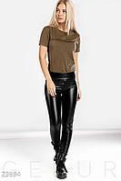 Классические кожаные леггинсы Gepur 23694