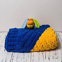 Плюшевый детский плед ручной работы 90x110 Желто-синий (PL0004)