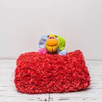 Плюшевый детский плед ручной работы 85x85 см Красный (PL0009)