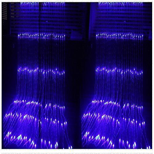Уличная светодиодная гирлянда водопад 3х3м, синий 680 led, штора, занавес, цвет синий, есть переходник