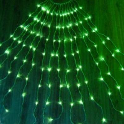 Водопад 3х1 Гирлянда Штора 300 Led - Дождь на белом прозрачном проводе цвет зеленый