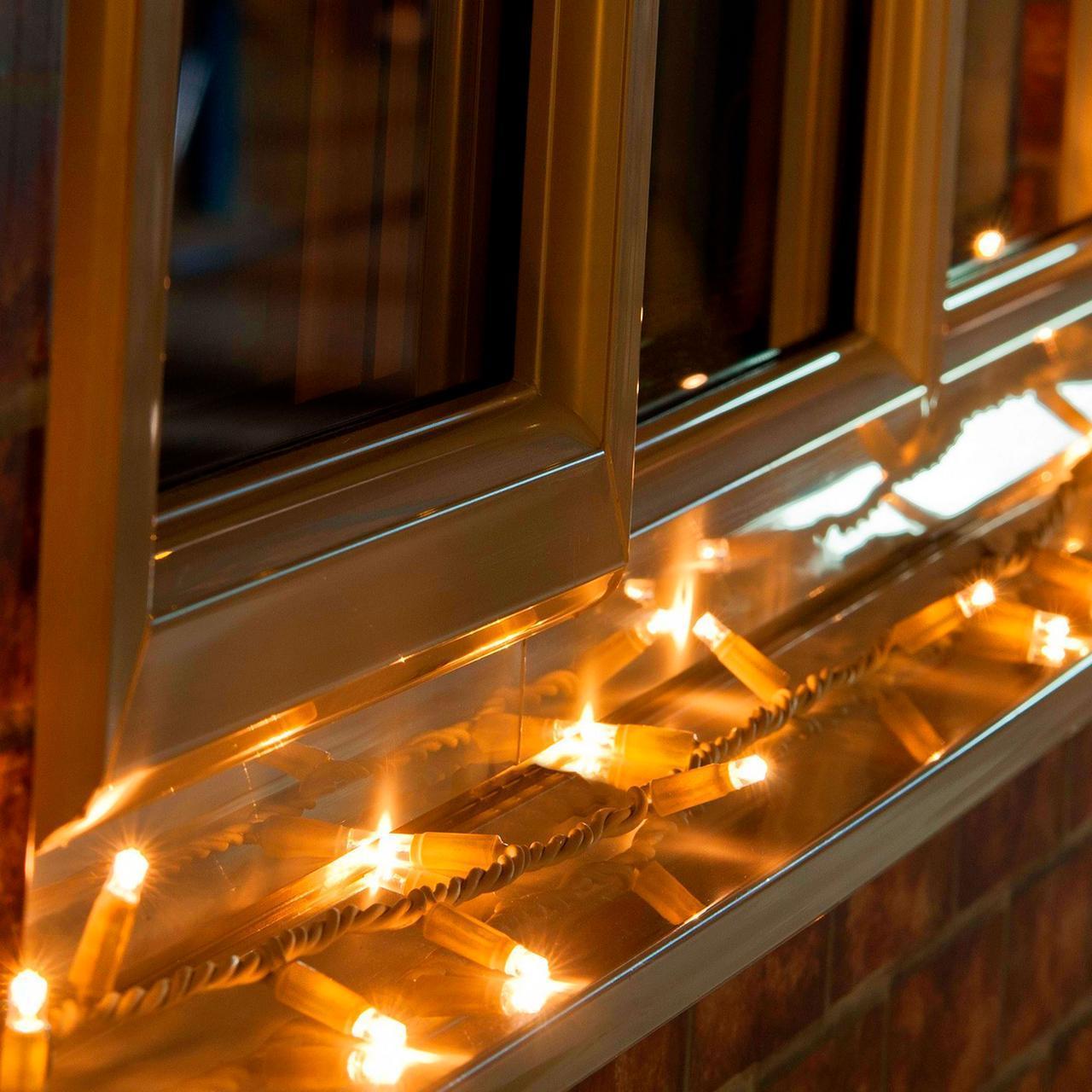 Уличная Гирлянда светодиодная нить, 20 м, 200 led белый каучуковый провод - цвет желтый, статический режим