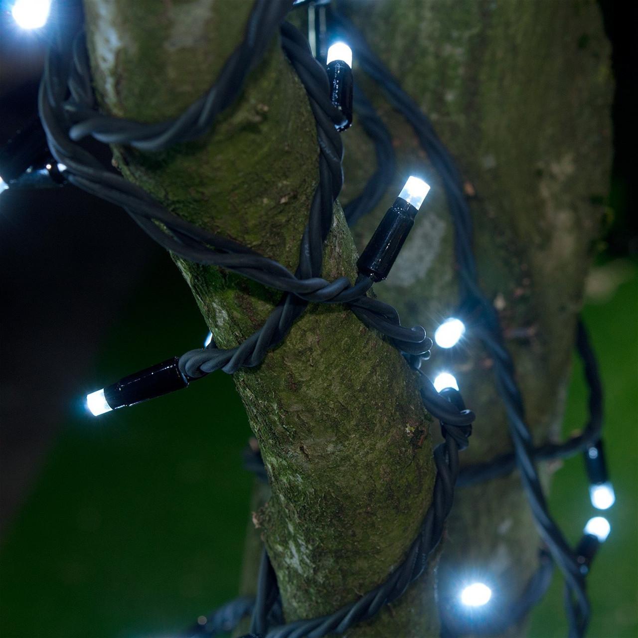 Уличная Гирлянда светодиодная нить, 20 м - цвет белый - холодный, черный каучуковый провод, фото 1