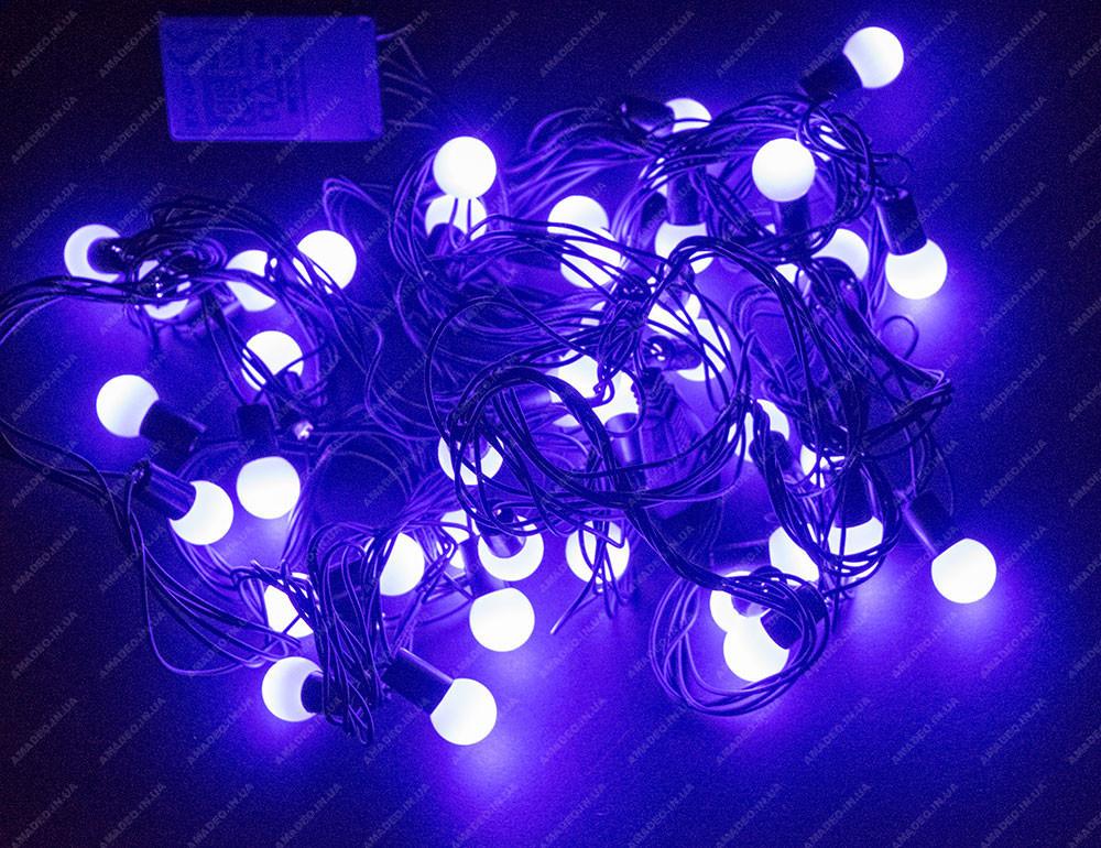 Фиолетовая Гирлянда-Нить Шарики Белт Лайт (Belt Light) на черном проводе 5 м, 44 LED шарика, переходник, фото 1