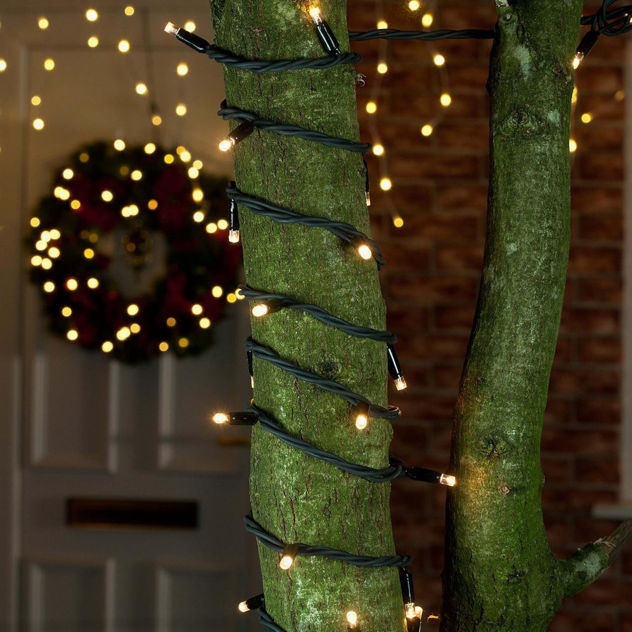 Уличная Гирлянда светодиодная нить, 10 м черный каучуковый провод - цвет тепло-белый, статический режим, фото 1