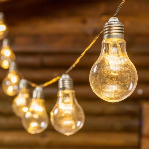 Led гирлянда-лампочки нить 2м тепло-белого цвета 10 лампочек