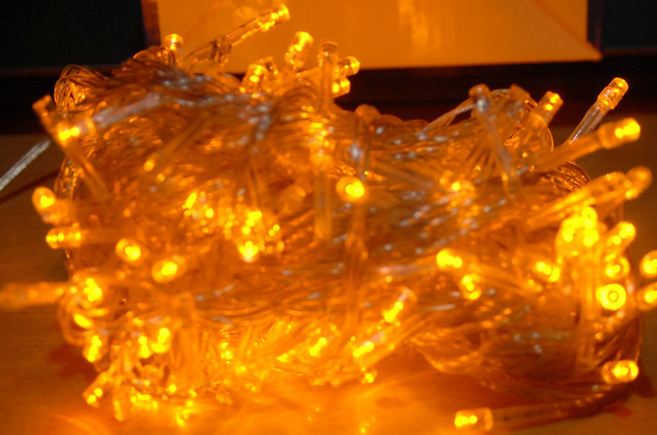 Внутренняя Гирлянда светодиодная нить, 200 led, 13.5м белый прозрачный провод - цвет желтый, фото 1