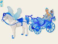 Карета для куклы 227A   звук, лошадка с крыльями ходит,с куклой,в коробке 55,8*19*30,2 см