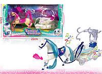 Карета для куклы SM3005  2вида, свет/Музыкальная  , лошадка,с расческой,в коробке 37*22*14см