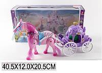 Карета для куклы 686-713 (1455680)  с лошадкой, Музыкальная  , ходит, в кор.41*12*21см