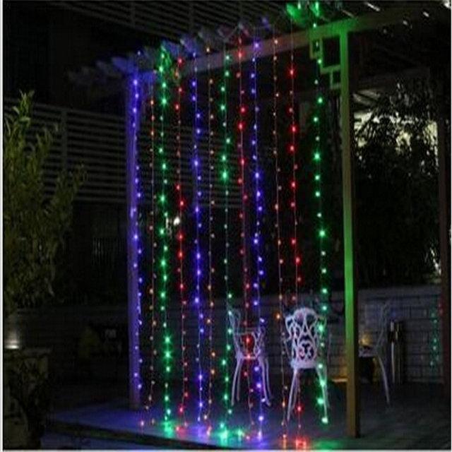 Уличная Гирлянда Штора - на белом проводе 3,5х1,5 м 500 LED разноцветная, занавес Плей Лайт