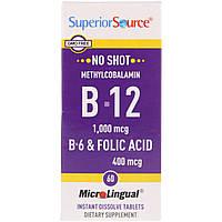 Superior Source, Метилкобаламин B-12 1000 мкг, B-6 и фолиевая кислота 400 мкг, MicroLingual, 60 таблеток