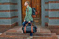 Черная кожаная спортивная сумка, Дорожная сумка из винтажной кожи, фото 1