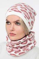 Вязаный комплект шапка и снуд (One Size, белый, розовый, персик, 100% нейлон)