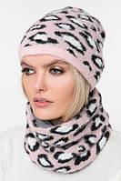 Вязаный комплект шапка и снуд (One Size, розовый, белый, черный, 100% нейлон)
