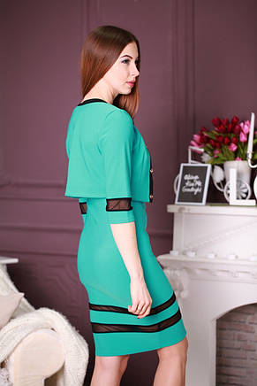 Стильное трикотажное деловое платье-двойка с вставками из сеточки, фото 3