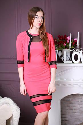 Стильное трикотажное деловое платье-двойка с вставками из сеточки, фото 2