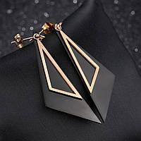 Серьги-подвески с покрытием золота и титана