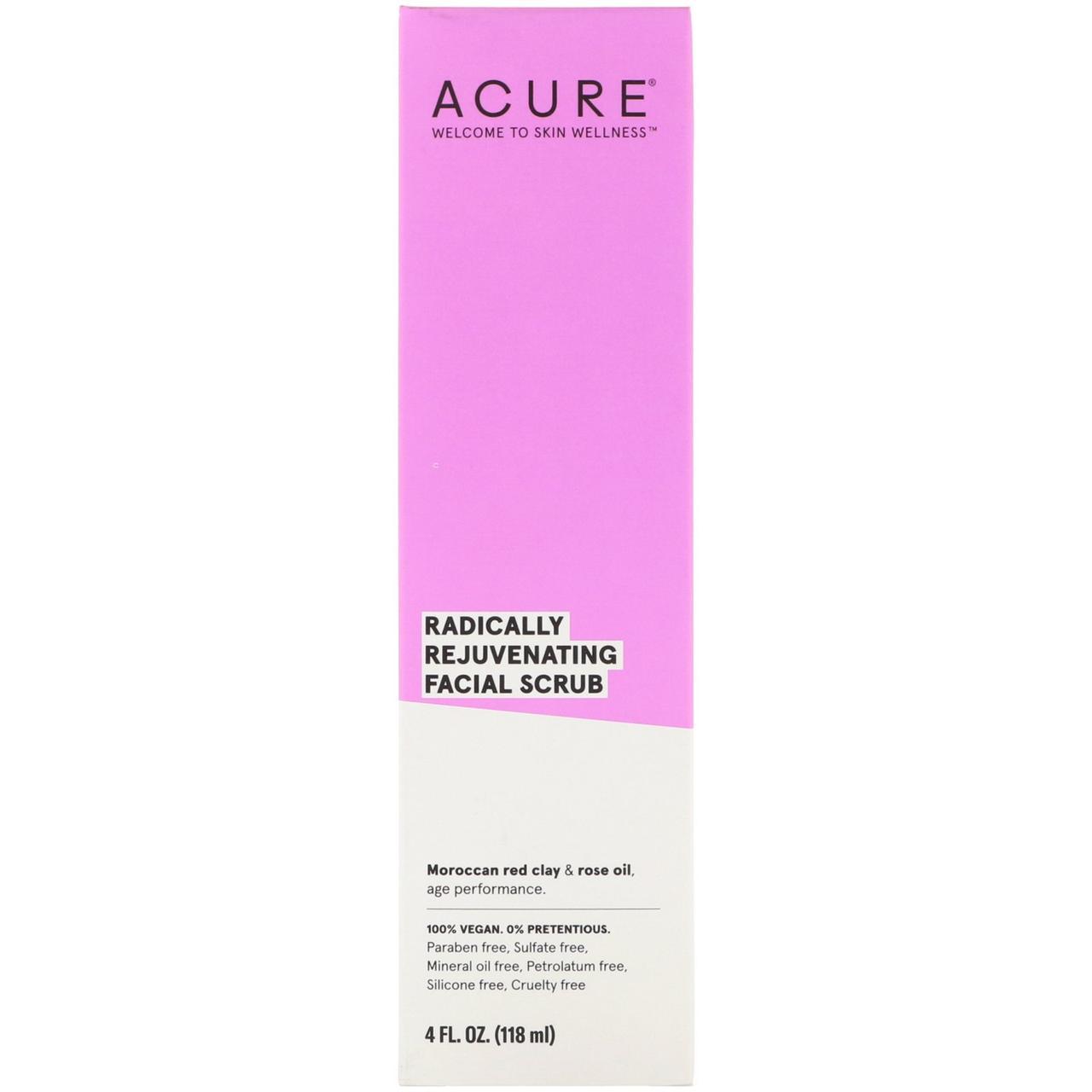 Acure Organics, Сужающий поры скраб для лица с марокканской красной глиной и стволовыми клетками аргана, 4 жидких унции (118 мл)
