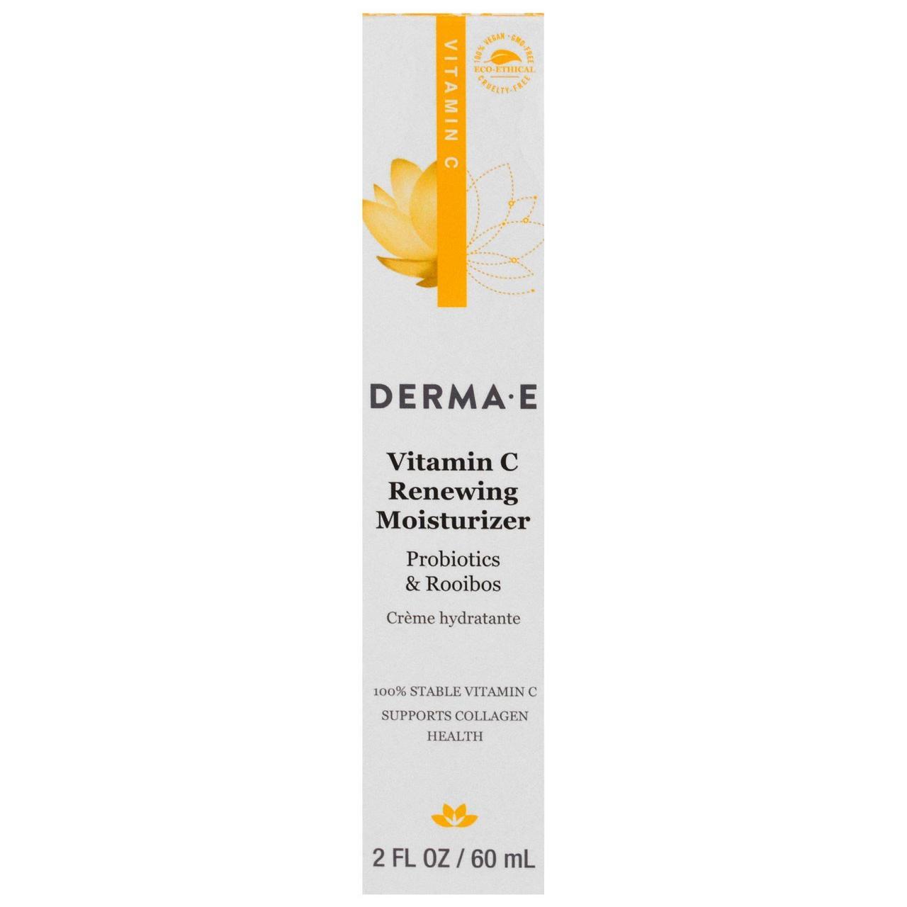 Derma E, Обновляющий крем для увлажнения с витамином C, с пробиотиками и чаем ройбуш