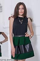 Стильне плаття-футляр з асиметричними вставками з екокожі Nerine