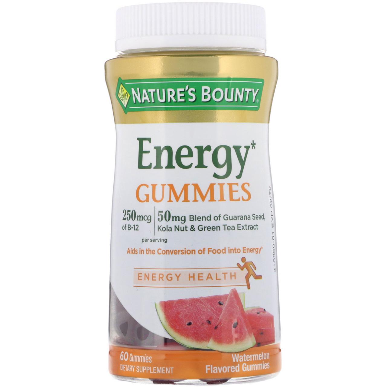 Nature's Bounty, Энергетическая жевательная пластинка со вкусом арбуза , 60 штук