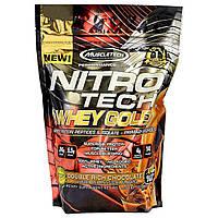 Muscletech, Nitro Tech 100%-ный Сывороточный Золотой Белок, Двойной Шоколад, 1,00 фунта (454 г)