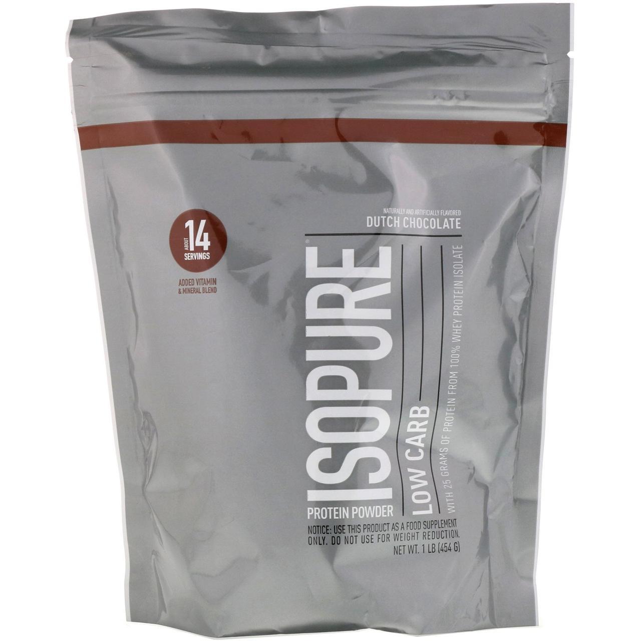 Nature's Best, IsoPure, Белковый порошок с низким содержанием протеина, голландский шоколад, 1 фунт (454 г)