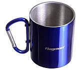 Термо чашка металлическая Flagman 300ml синяя с карабином
