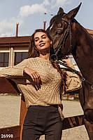 Уютный бежевый пуловер Gepur 26998