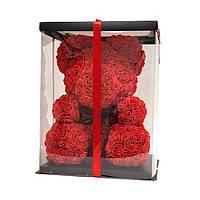 Оригинальный подарок для девушки - мишка из искусственных 3d роз в коробке 25 см