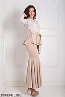 Шикарне жіноче плаття футляр з верхом з гіпюру і воланом на талії Adelis