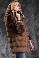 Шуба полушубок из лесной куницы и американской норки marten fur coat jacket, фото 1