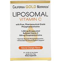 California Gold Nutrition, CGN, Ліпосомний вітамін C, з фосфатидилхолином, натуральний смак апельсина, 30, фото 1