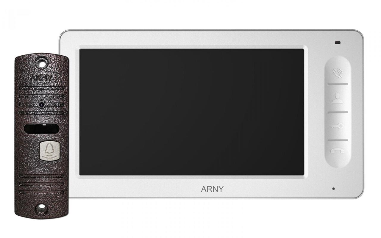 Комплект відеодомофона ARNY AVD-7006 Білий / Мідний