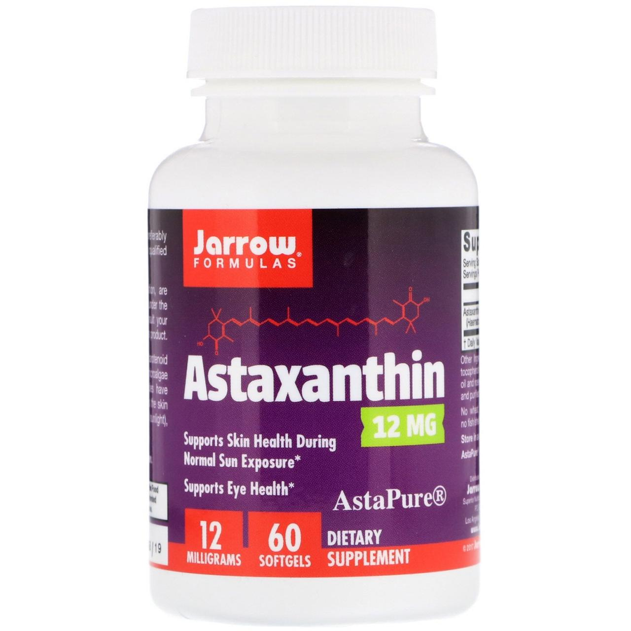 Jarrow Formulas, Астаксантин, 12 мг, 60 гелевых капсул