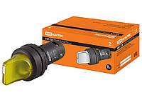 Переключатель на 2  положения с фиксацией SB7-CK2565-220V короткая ручка(LED) d22мм 1з+1р желтый TDM