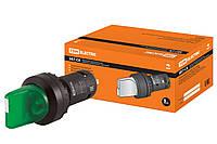 Переключатель на 2 положения с фиксацией SB7-CK2361-220V короткая ручка(LED) d22мм 1з зеленый TDM