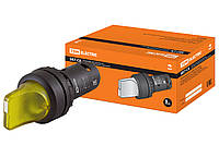 Переключатель на 2 положения с фиксацией SB7-CK2561-24V короткая ручка(LED) d22мм 1з желтый TDM