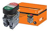 Кнопка двойная MPD3-11С (зеленая/красная) (LED) в сборе d22мм/220В (ON/OFF)  линза прозрачная TDM