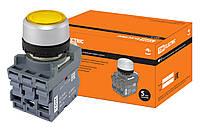Кнопка с фиксацией MP2-21Y(LED) в сборе d22мм/220В 1з+1р желтая TDM