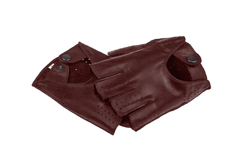 Автомобильные перчатки из натуральной кожи модель 245bk бордо без подкладки
