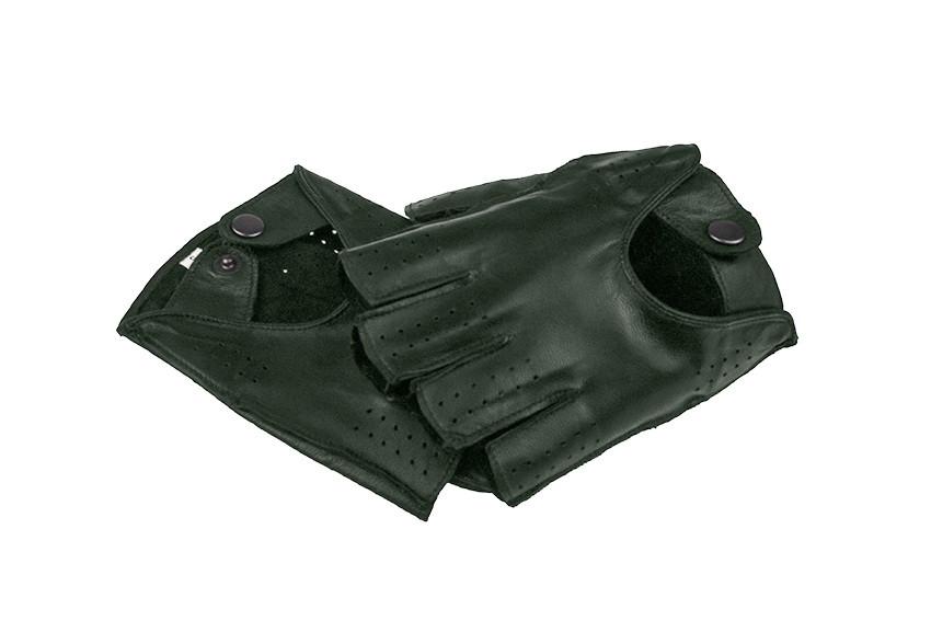 Автомобильные перчатки из натуральной кожи модель 245bk темно зеленый без подкладки
