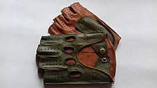 Автомобильные перчатки из натуральной кожи модель 245bk темно зеленый без подкладки, фото 3