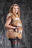 Жилет из длинноворсной финской лисы SAGA с отстежным подолом, фото 5